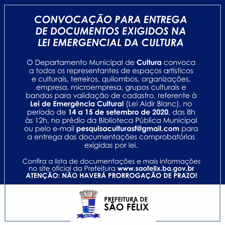 Convocação para entrega de documentos exigidos na Lei Emergencial da Cultura